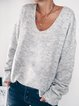 Solid Cotton-Blend Casual Sweater