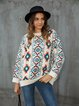 White Shift Graphic Crew Neck Long Sleeve Sweater