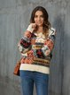 Red Casual V Neck Tribal Knitted Sweater