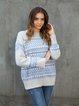 Blue Casual Elastane Long Sleeve Sweater