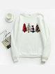 Cotton-Blend Casual Christmas Long Sleeve Sweatshirt