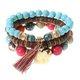 3 Pcs/set Bohemian Multilayer Beads Bracelet Wood Elastic Bracelet with Tassel Pendant Gift for Her