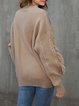 Khaki Casual Crew Neck Sweater