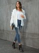 White Casual Fringed Long Sleeve V Neck Outerwear