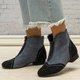Color Block Winter Faux Suede Slip-On Ankle Boots Plus Sizes