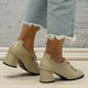 Women Round Toe Slide All Season Casual Chunky Heel Pu Loafers