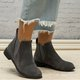 Plus Size Leather Zipper Chunky Heel Ankle Booties