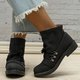 Plus Size Leather Lace Up Flat Heel Ankle Booties