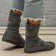 Slip-On Shell Round Toe All Season Womens Boots