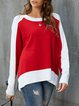 White-Red Casual Knitted Solid Sweatshirt