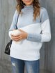Light Grey Knitted Casual Solid Cowl Neck Sweater