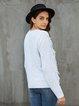 Light Grey Solid Acrylic Crew Neck Long Sleeve Sweater