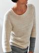 Beige Long Sleeve Wool Blend Sweater