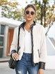 Apricot Casual Zipper Shift Outerwear