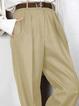 Khaki Plain Cotton-Blend Vintage Pants