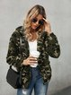 Green Casual Hoodie Shift Outerwear