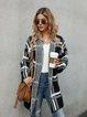 Black Printed Casual Shawl Collar Checkered/plaid Outerwear