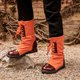 Lace-Up Mid-Calf Pu Boots Round Toe Womens Fashion Shoes