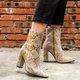 Chunky Heel Side Zipper Snake Skin Ankle Boots