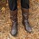 Casual Low Heel Buckle Boots PU Side Zipper Comfortable Boots