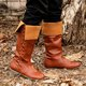 Combat Womens Knee-High Boots Slip-On Winter Flat Heel Boots