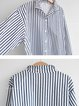 Plus Size Striped Long Sleeve Casual Midi Shirts Tops
