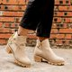 Plus Size Bowknot Leather Zipper Chunky Heel Ankle Booties