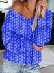 Plus Size Long Sleeve Geometric Printed Casual Tops