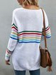 White Acrylic Color-Block Long Sleeve Sweater