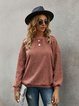 Pink Solid Long Sleeve Sweatshirt