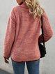 Red Cotton Buttoned Long Sleeve Shift Sweatshirt