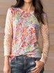 Orange Cotton-Blend Casual Round Neck Shirts & Tops