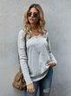 Gray Cotton-Blend Shift V Neck Casual Shirts & Tops