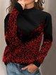 Leopard Print Paneled Turtleneck Long Sleeve Sweatshirt
