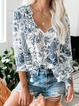Cotton-Blend 3/4 Sleeve Shirts & Tops