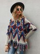 Khaki Crew Neck Casual Shift Tribal Sweater