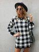 Black Casual Printed Crew Neck Checkered/plaid Dresses