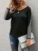 Black V Neck Solid Casual Shirts & Tops