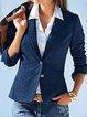 Plus Size Plain Long Sleeve Casual Outerwear