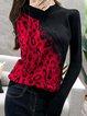 Leopard Print Paneled Turtleneck Long Sleeve Casual Sweatshirt