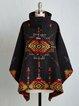 Black Floral-Print Turtleneck Vintage Outerwear