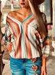 Long Sleeve V Neck Shift Shirts & Tops