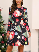 Christmas Green Cotton-Blend Boho Dresses