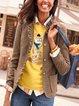Khaki Ruffled Casual Checkered/plaid Shirts & Tops