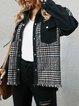 Black Paneled Shirt Collar Long Sleeve Shift Outerwear