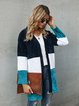 Blue Casual Knitted Shift Outerwear