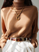 Khaki Wool Blend Turtleneck Casual Plain Sweater