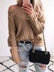 Long Sleeve Knitted Plain Crew Neck Sweater
