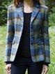 Blue Lapel Casual Outerwear
