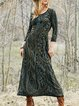Crew Neck Gray Women Dresses Swing Daily Vintage Dresses
